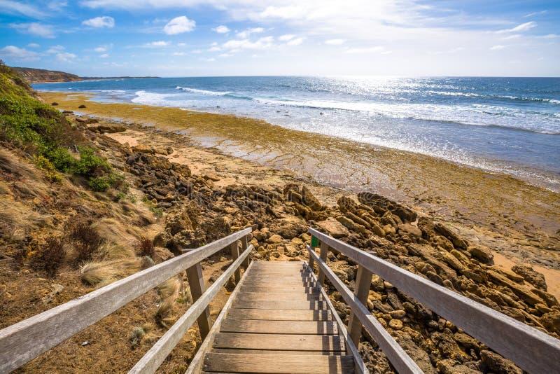 Gångbana till den Klockor stranden i Victoria arkivbild