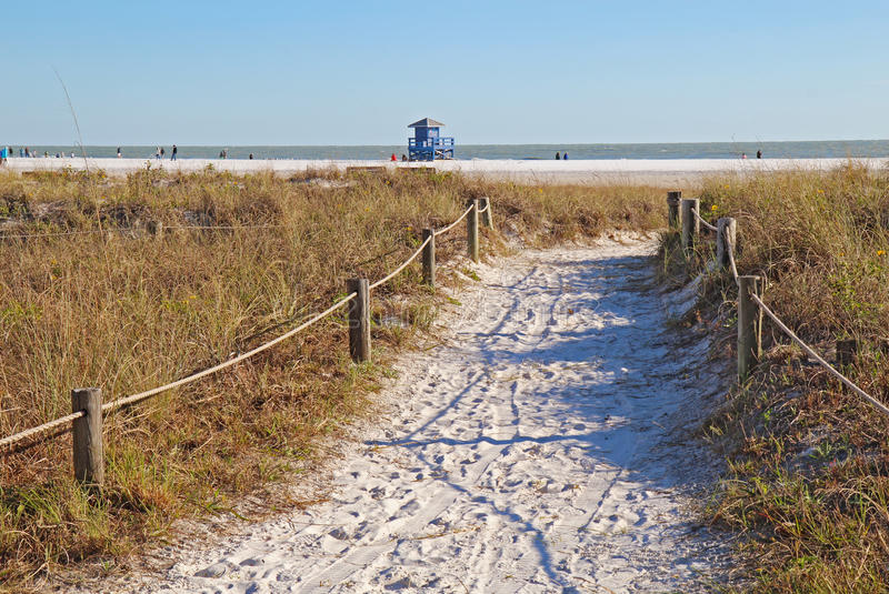 Gångbana till siestatangentstranden i Sarasota, Florida royaltyfri fotografi
