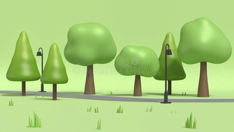 Gångbanan och lampan med många träd i grönt parkerar, tecknad filmstil låg poly 3d för att framföra stock illustrationer