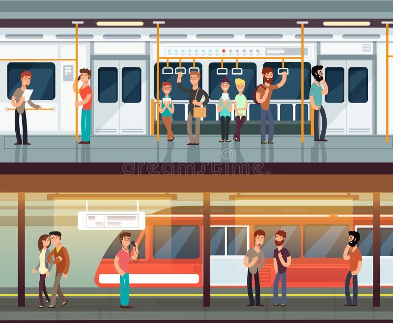 Gångtunnel inom med folkmannen och waman Tunnelbanaplattform- och drevinre Stads- tunnelbanavektorbegrepp stock illustrationer