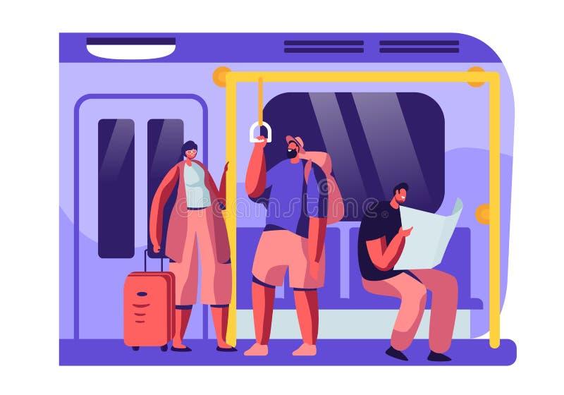 Gångtunneldrev som är inre med turister med bagage och infödda medborgare Man och kvinnliga tecken i underjordisk stads- tunnelba vektor illustrationer