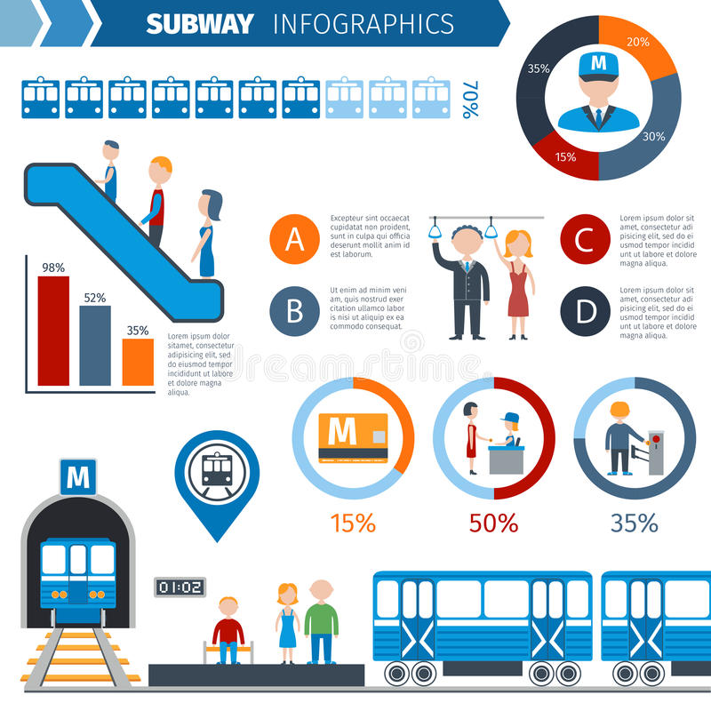 GångtunnelInfographics uppsättning stock illustrationer