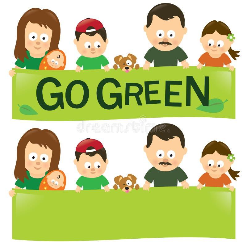 Går den gröna familjen stock illustrationer