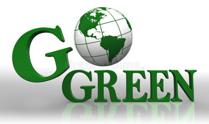 går den gröna logoen stock illustrationer