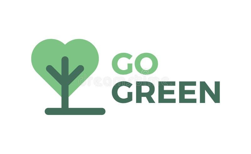 Går den gröna logoen, symbolen, tecknet, symbol royaltyfri illustrationer