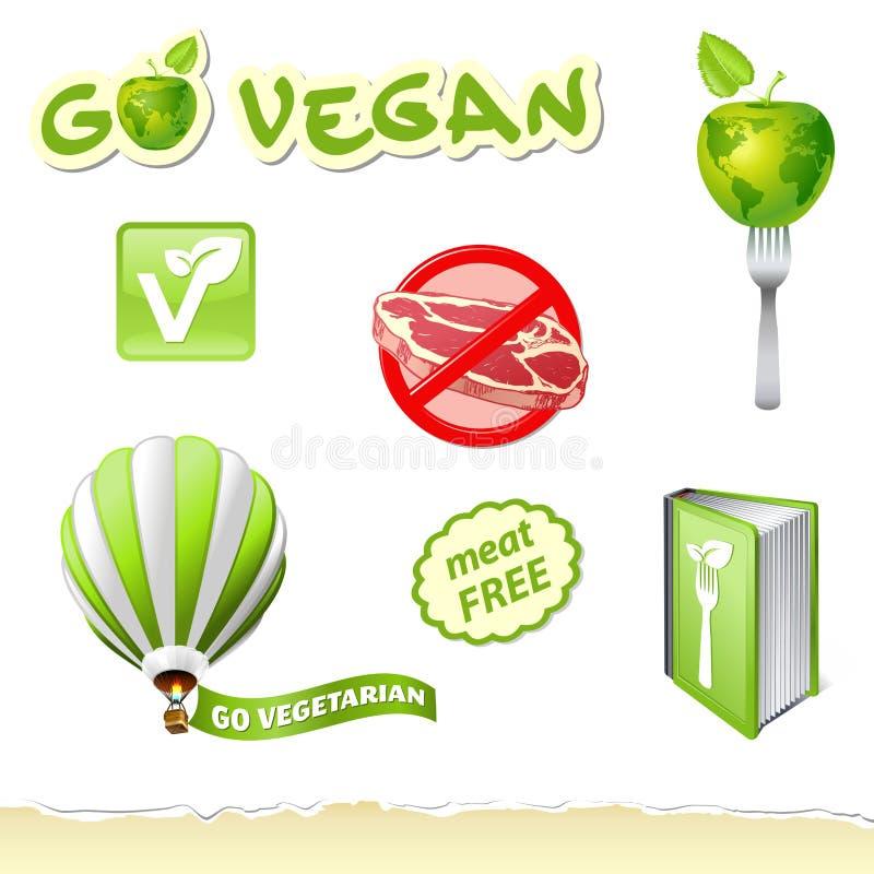 går den set vegetarian royaltyfri illustrationer