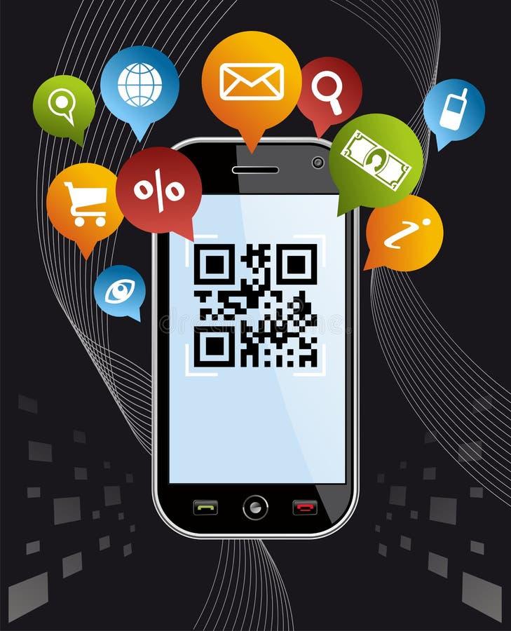 går den svarta koden för app qrsmartphonesamkvämet via royaltyfri illustrationer