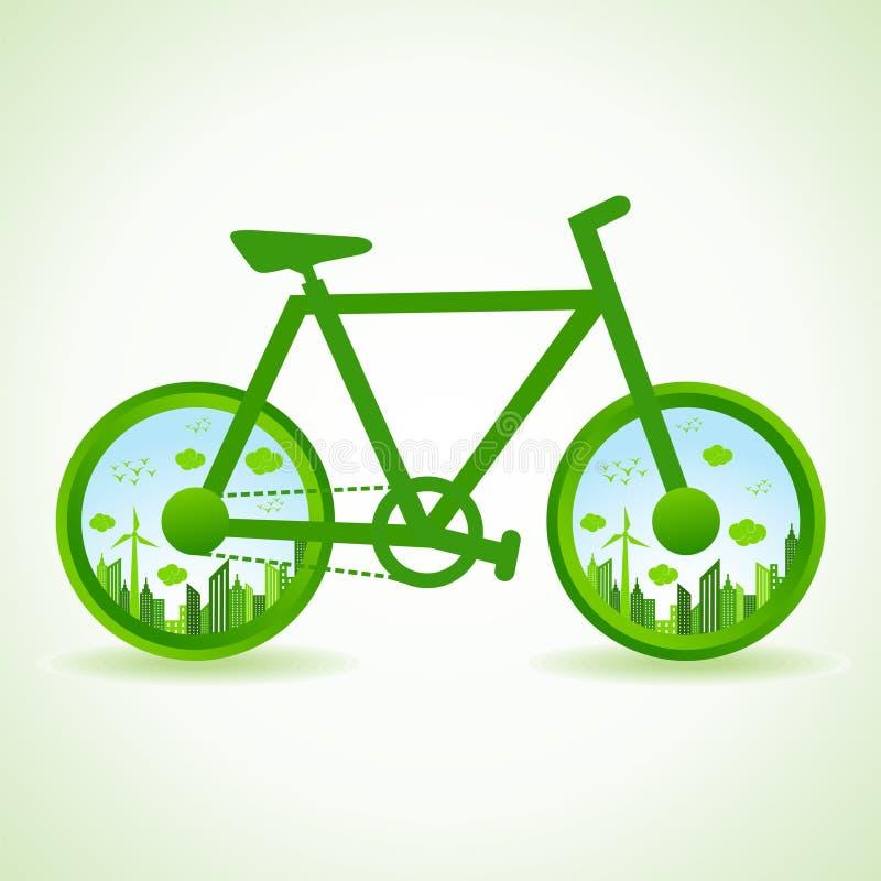 Går det gröna begreppet - Eco cityscape i cykel vektor illustrationer