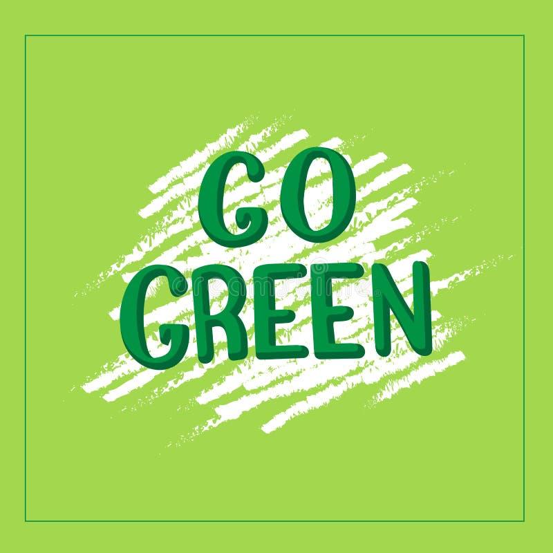 Går det gröna inspirerande citationstecknet Strikt vegetarianliv och vänligt begrepp för eco stock illustrationer