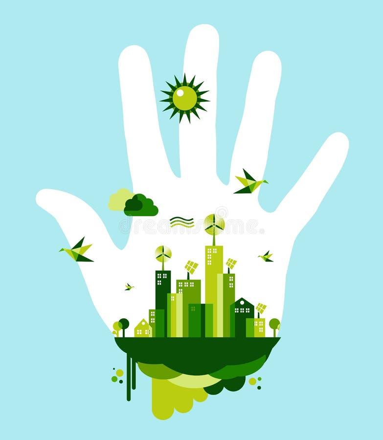 Går det gröna stadshandbegreppet royaltyfri illustrationer
