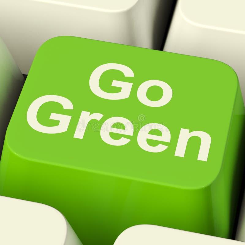 Går grön återvinning för visning för datortangent och den Eco vänskapsmatchen royaltyfri foto