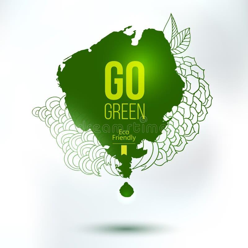 Går grön klick, för handteckning för eco vänlig logo royaltyfri illustrationer