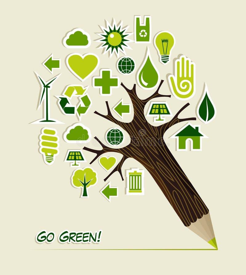 Går gröna symboler ritar treen royaltyfri illustrationer