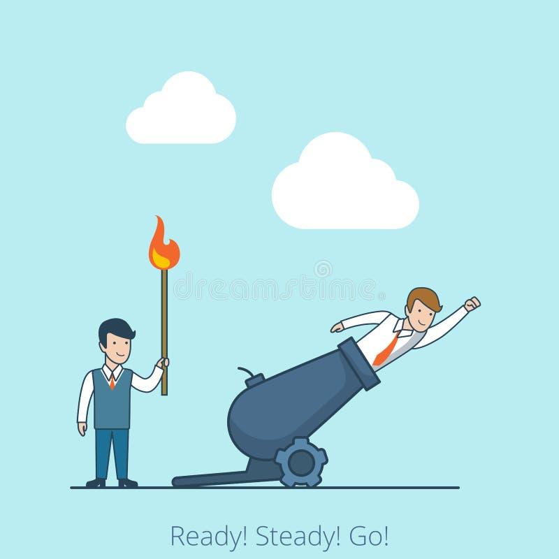 Går klara stadiga för linjär lägenhet flugan för manbränningmatchen stock illustrationer