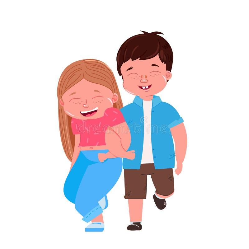 Går pojken, och flickan går bredvid på armen Vänkramar Barnkamratskapförälskelse vektor illustrationer