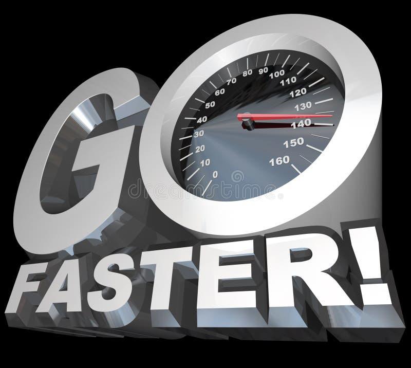 går snabbare den tävlings- hastighetsspeedometeren som är lyckad till stock illustrationer
