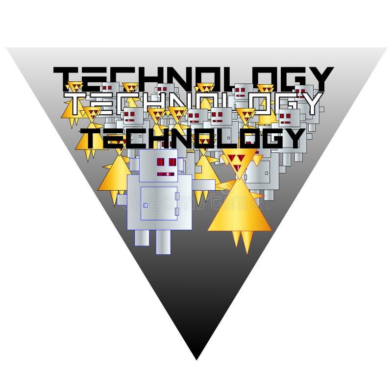 Går typografiska robotar för logoteknologi parvis stiliserat royaltyfri illustrationer