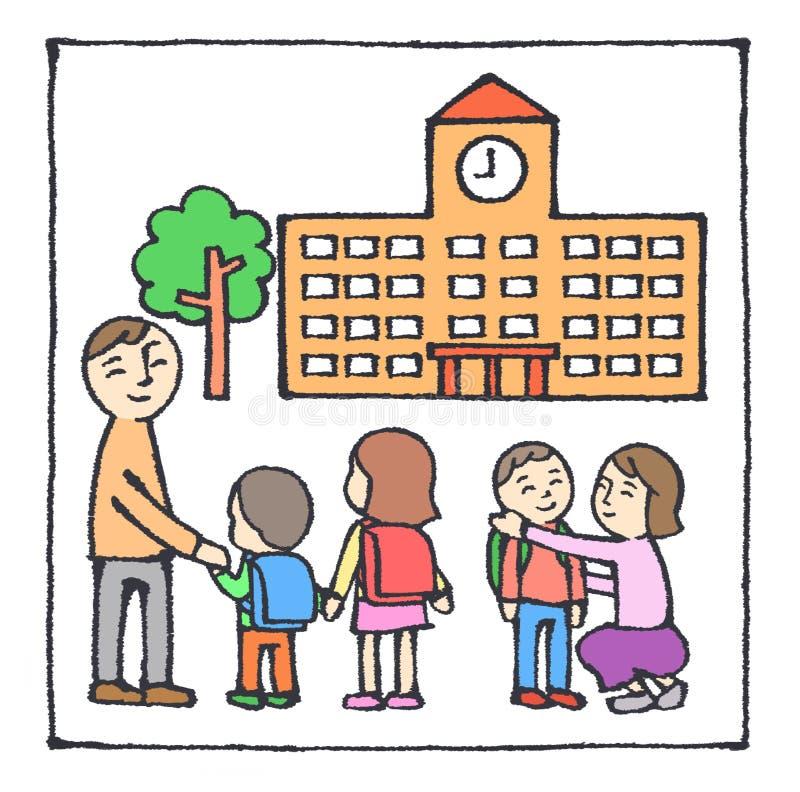 går ungeskolan till stock illustrationer