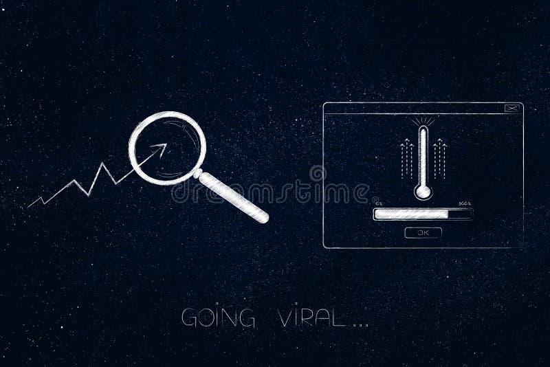 Går virus- statistik som går upp med förstoringsglaset på den bredvid pop- royaltyfri illustrationer