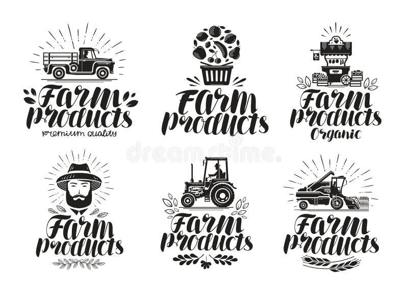 Gårdsprodukter etikettuppsättning Lantbruk, åkerbruk logo eller symbol Bokstävervektorillustration royaltyfri illustrationer