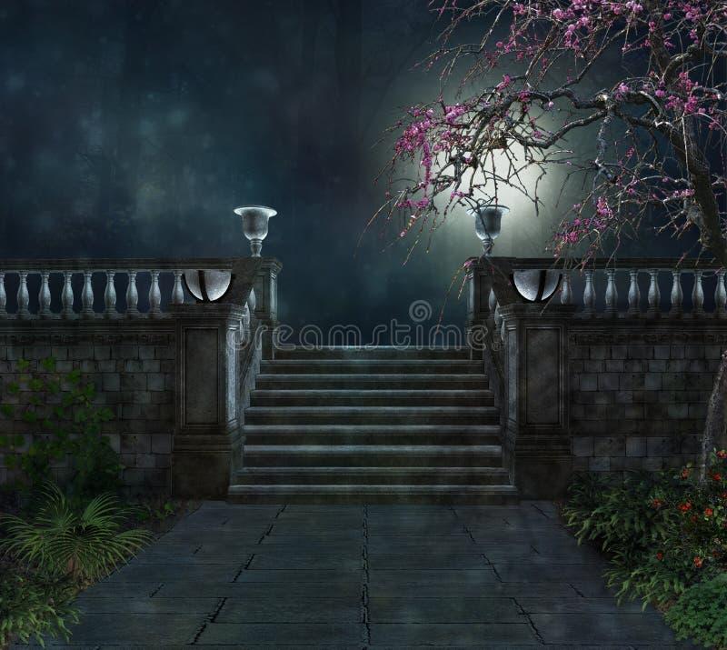 Gåta i ett mörker parkerar royaltyfria foton