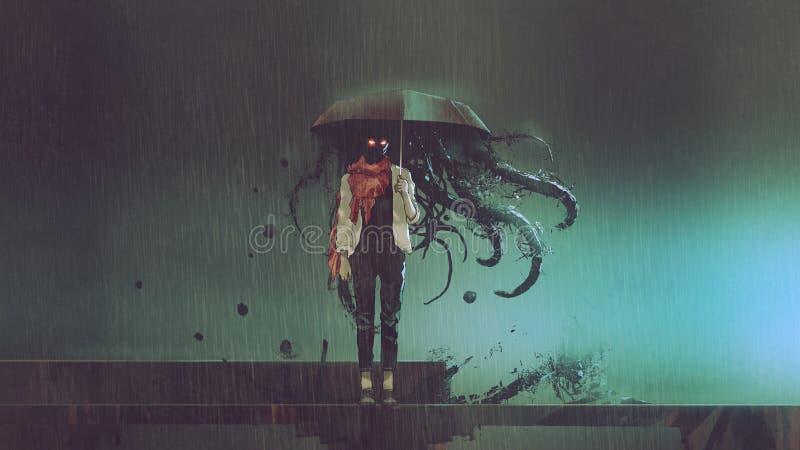 Gåtakvinna med det svarta paraplyet stock illustrationer