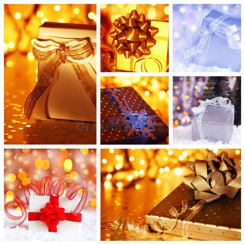 gåva för julcollagebegrepp fotografering för bildbyråer