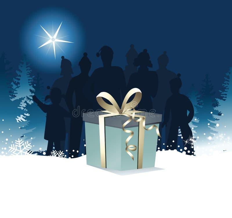 Gåva för julnatt royaltyfri illustrationer