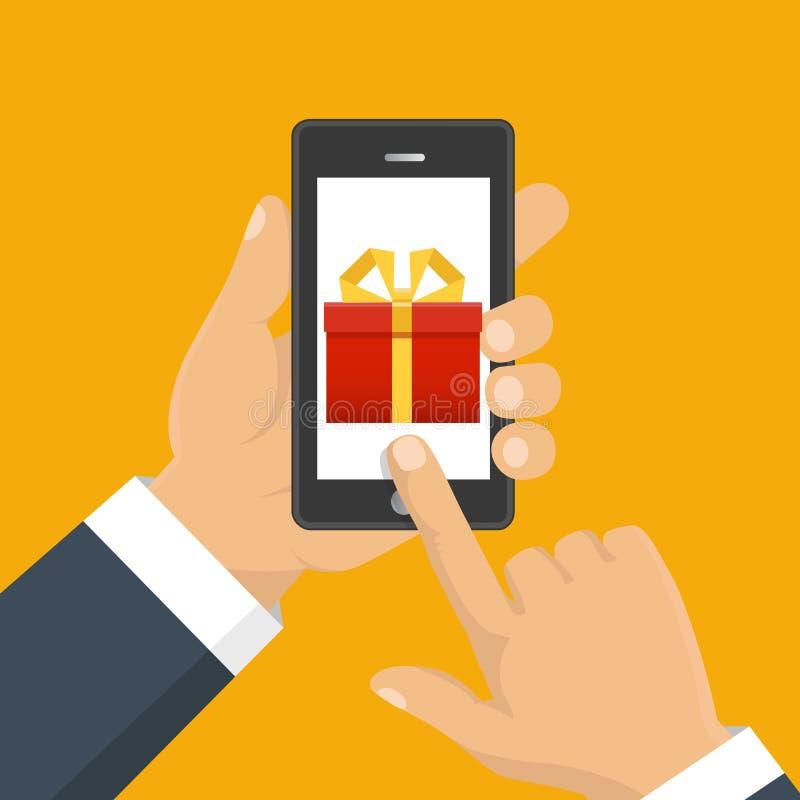 Gåvaapp-sida på smartphoneskärmen Handhållsmartphone Mobil vektor illustrationer