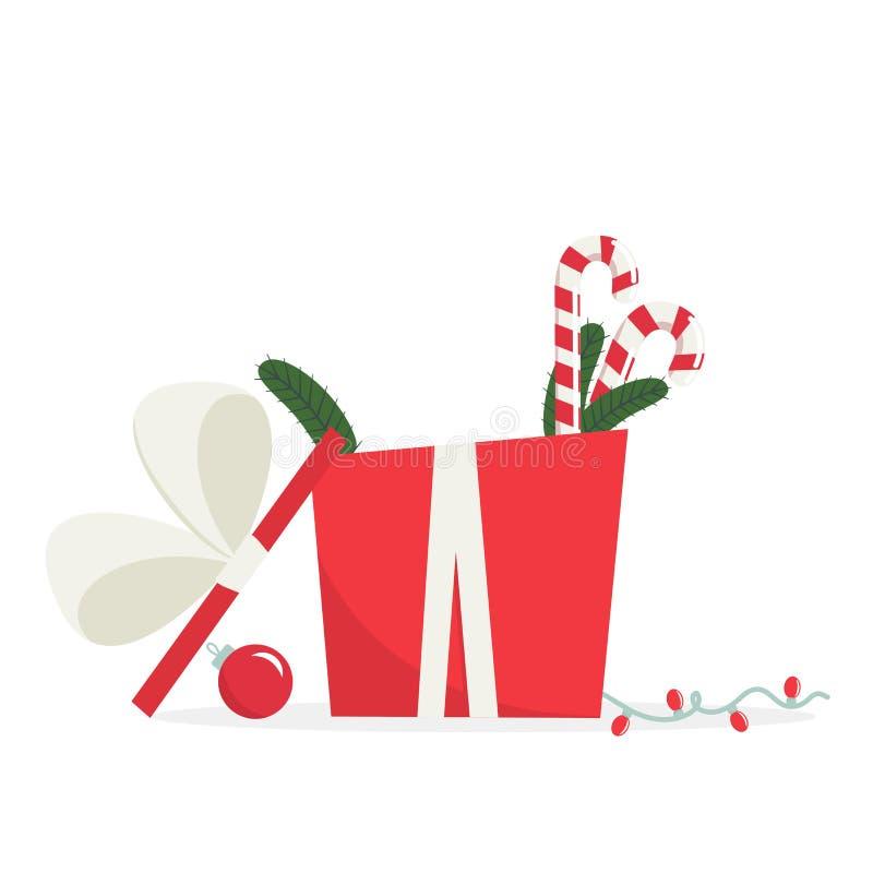 Gåvaask för lyckligt nytt år Beståndsdelar av designen för tryck stock illustrationer