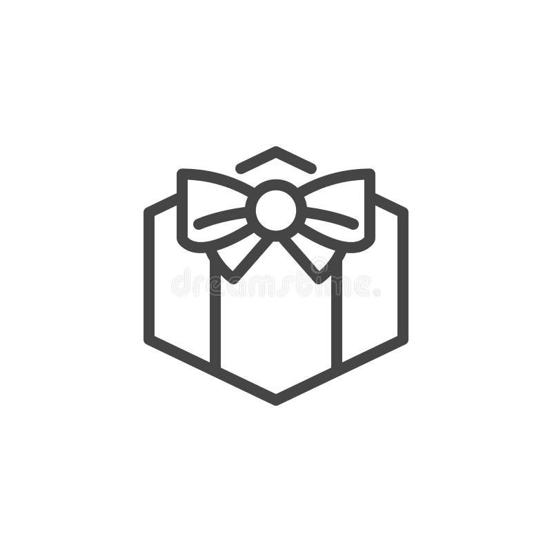 Gåvaask med bandsymbolen Gåva överraskning, försäljningsetikett Pictograph för ferier, strider, presentartikel och andra händelse royaltyfri illustrationer