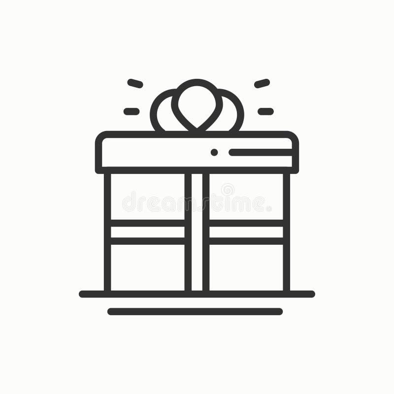 Gåvaask med bandsymbolen Gåva giftbox Partiberömfödelsedagen semestrar den festliga händelsekarnevalet Linje parti royaltyfri illustrationer