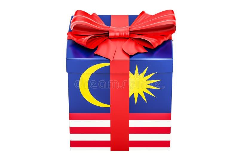 Gåvaask med flaggan av Malaysia, feriebegrepp framförande 3d vektor illustrationer