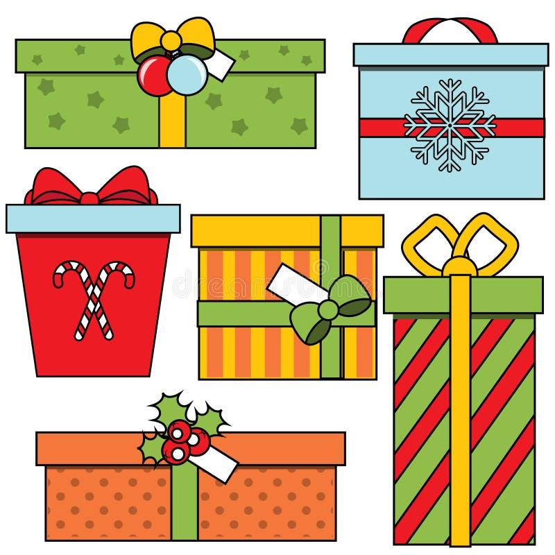 Gåvaaskar för jul och för nytt år Säsongsbetonad gåvauppsättning för vinter färgrik symbolsvektor vektor illustrationer