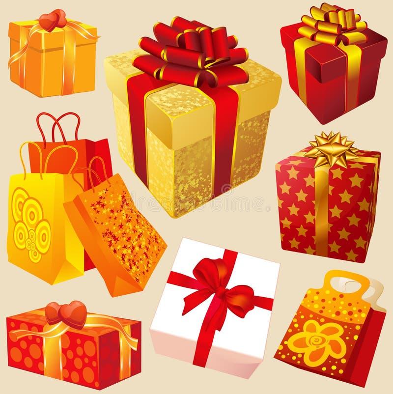 gåvaaskar med röda och guld- band royaltyfri illustrationer