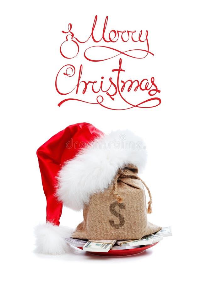 Gåvabegrepp för glad jul med pengar som isoleras på vit royaltyfri foto