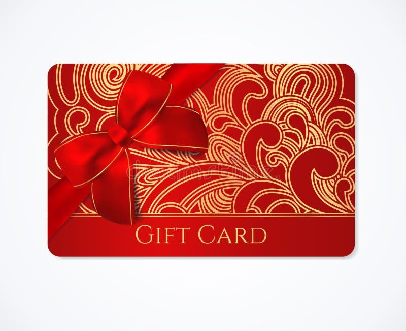 Gåvakort, gåvakupongrabatt med den guld- blom- snirkeln, virvelmodell och rött pilbågeband Feriebakgrundsdesign för muskelrycknin royaltyfri illustrationer