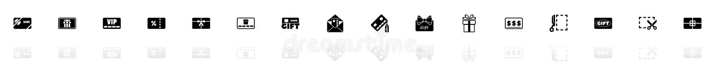 Gåvakort - plana vektorsymboler royaltyfri illustrationer