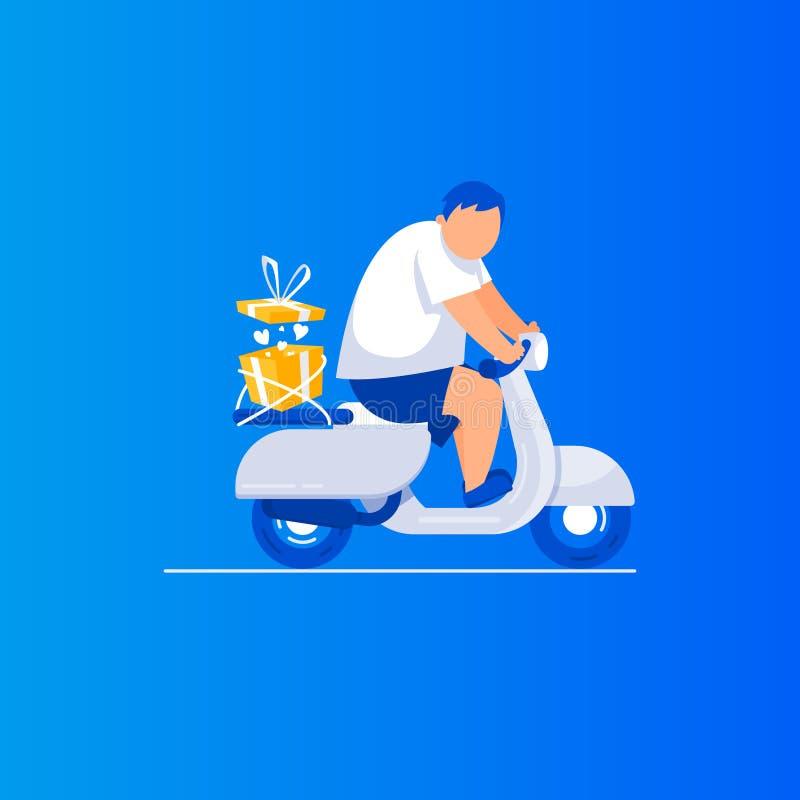 Gåvaleveransmannen rider en sparkcykel royaltyfri illustrationer