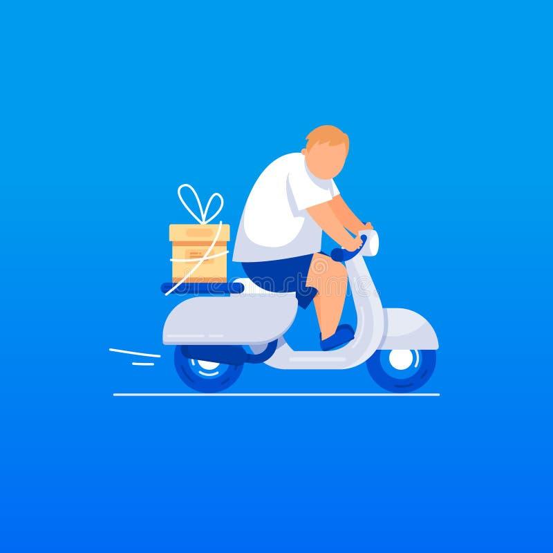 Gåvaleveransmannen rider en sparkcykel stock illustrationer