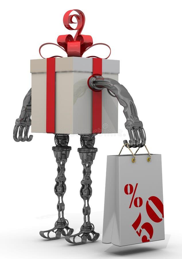 Gåvan för femtio procentsats på köp royaltyfri illustrationer