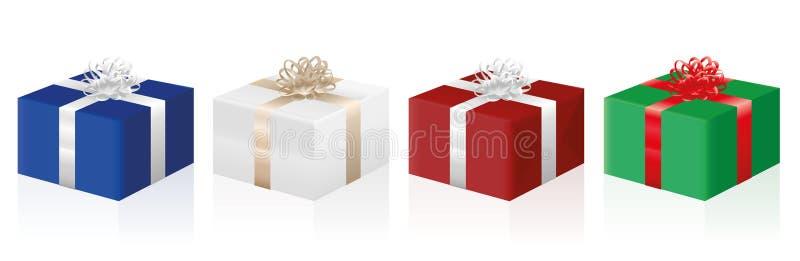 Gåvan förpackar gåvor fyra färger royaltyfri illustrationer