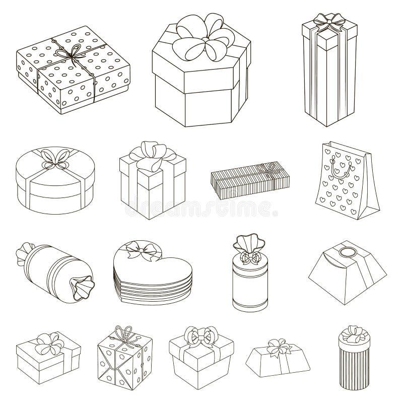 Gåvan och emballage skisserar symboler i uppsättningsamlingen för design Färgrik illustration för rengöringsduk för materiel för  stock illustrationer