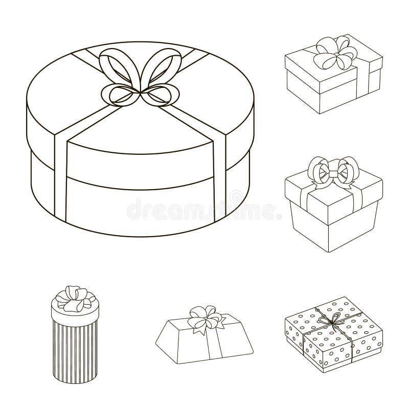 Gåvan och emballage skisserar symboler i uppsättningsamlingen för design Färgrik illustration för rengöringsduk för materiel för  royaltyfri illustrationer