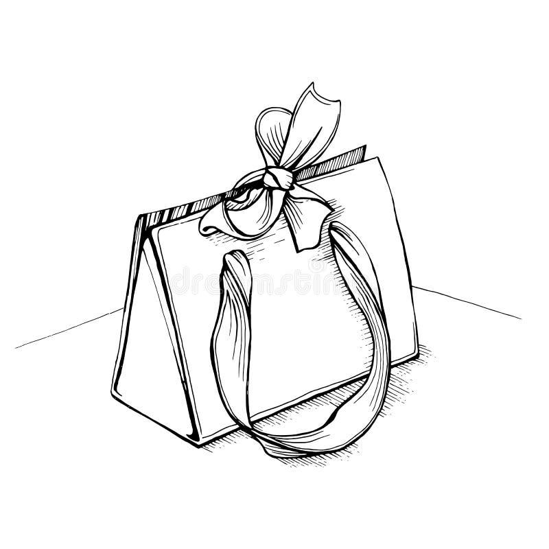 Gåvashoppingpåsen med handtag bugar och band royaltyfri illustrationer