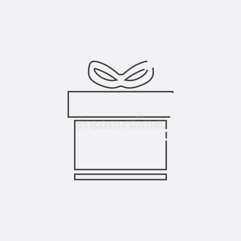 Gåvasymbol, vektorillustration Plan linje symbol vektor illustrationer