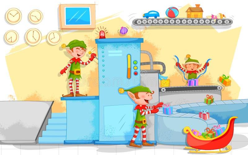 Gåvor för älvadanandejul i leksakfabrik royaltyfri illustrationer