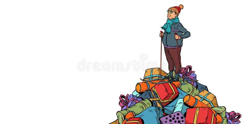 Gåvor för julförsäljningsshopping isolerar den medelåldersa mannen för skidåkaren, på royaltyfri illustrationer