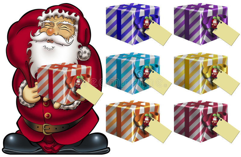 gåvor santa stock illustrationer