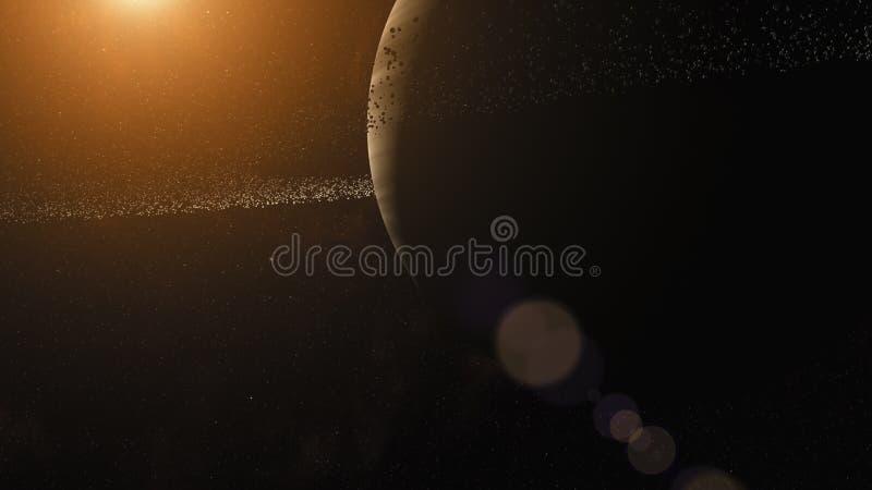 Géant de gaz avec le système d'anneau des particules de glace Espace extra-atmosphérique, art cosmique et concept de la science-f illustration libre de droits